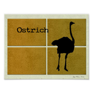 Avestruz en corcho póster