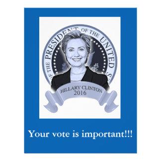 Aviador 2016 de Hillary Clinton Folleto 21,6 X 28 Cm
