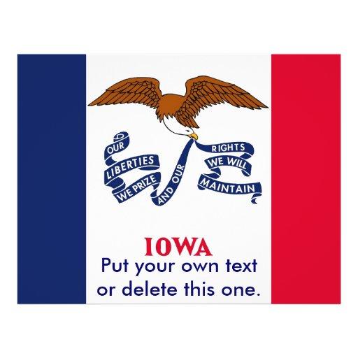 Aviador con la bandera de Iowa, los E.E.U.U. Tarjeta Publicitaria