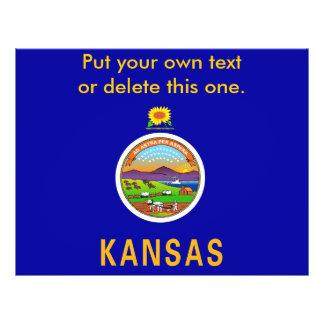 Aviador con la bandera de Kansas, los E.E.U.U. Tarjeton