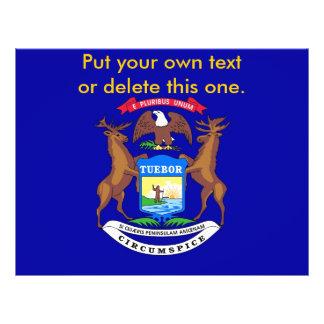 Aviador con la bandera de Michigan, los E.E.U.U. Folleto 21,6 X 28 Cm