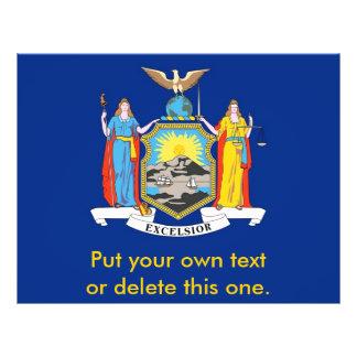 Aviador con la bandera de Nueva York, los E.E.U.U. Tarjeta Publicitaria