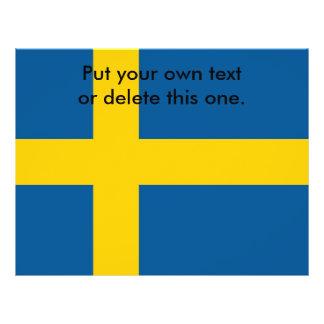 Aviador con la bandera de Suecia Folleto 21,6 X 28 Cm