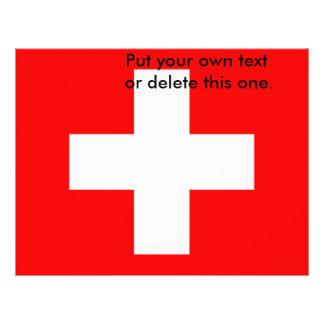 Aviador con la bandera de Suiza Folleto 21,6 X 28 Cm