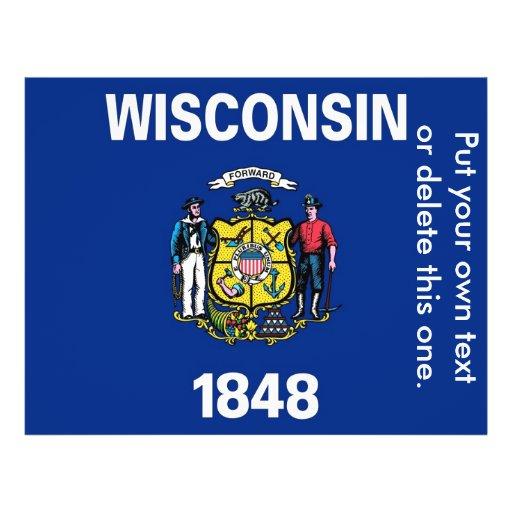 Aviador con la bandera de Wisconsin, los E.E.U.U. Tarjeta Publicitaria