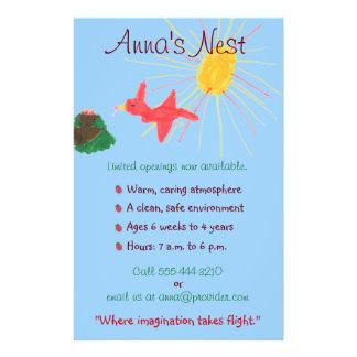 Aviador del cuidado de niños tarjetas publicitarias