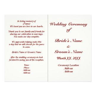 Aviador personalizado del programa del boda de folleto 21,6 x 28 cm