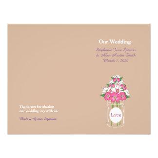 Aviadores florales del programa del boda del tarro flyer a todo color