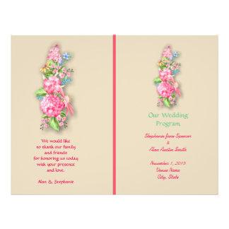 Aviadores rosados del programa del boda del ramo