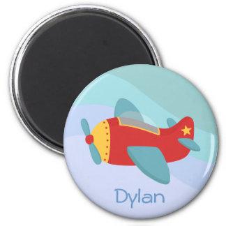 Avión colorido y adorable del dibujo animado imán redondo 5 cm