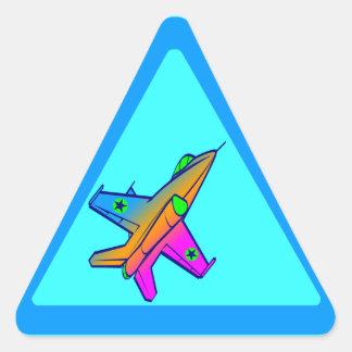Avión de caza a reacción retro del tigre 80s de pegatina triangular