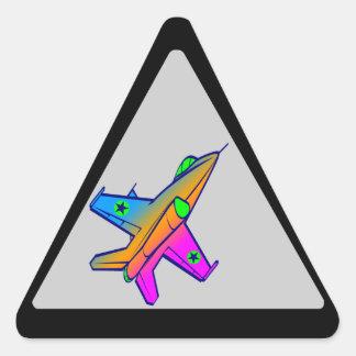 Avión de caza a reacción retro del tigre 80s de pegatinas de triangulo