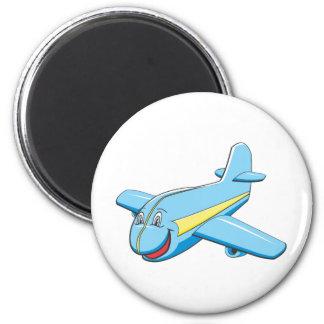 Avión del dibujo animado imán redondo 5 cm