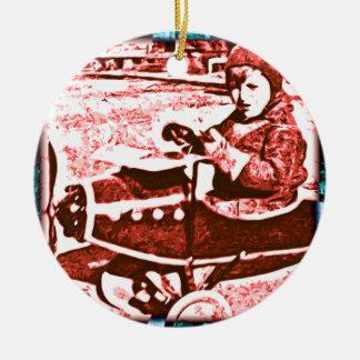 Avión del juguete adorno navideño redondo de cerámica