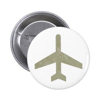 Avión del vintage chapa redonda de 5 cm