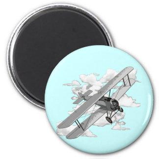 Avión del vintage imán redondo 5 cm