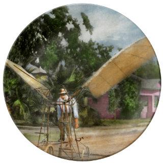Avión - impar - el pájaro temprano 1910 plato de porcelana