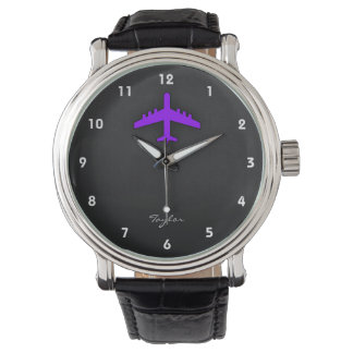 Avión púrpura violeta; Piloto Reloj