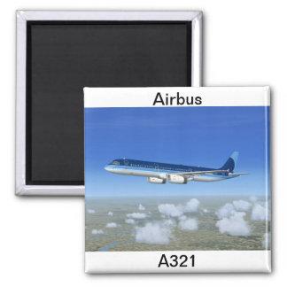 Aviones del avión de pasajeros del jet A321 Imán Cuadrado