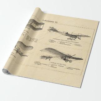 Aviones retros de la antigüedad del biplano del papel de regalo