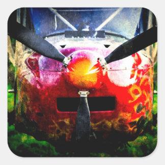 Aviones rojos - pequeños pero feroces pegatina cuadrada