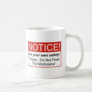 Aviso/empresario de pompas fúnebres taza de café