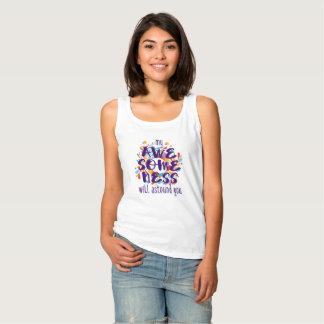 Awesomeness (texto púrpura) camiseta con tirantes