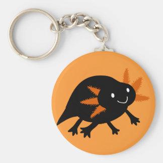 Axolotl negro de Halloween Llavero Redondo Tipo Chapa