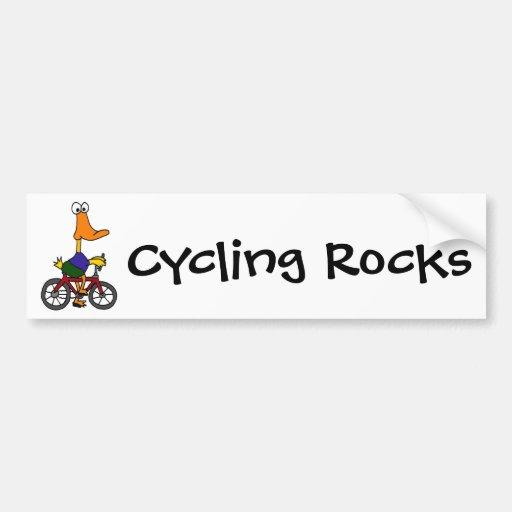 AY- dibujo animado de la bicicleta del montar a ca Pegatina De Parachoque