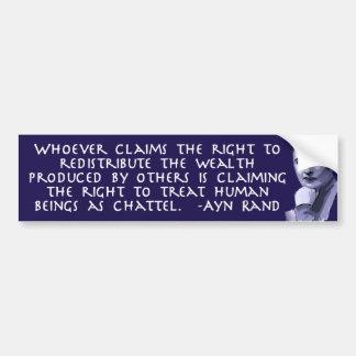 Ayn Rand en la redistribución de la riqueza Pegatina Para Coche