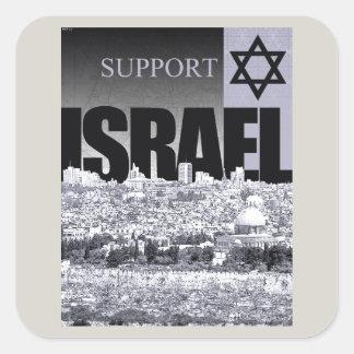 Ayuda Israel Pegatina Cuadrada
