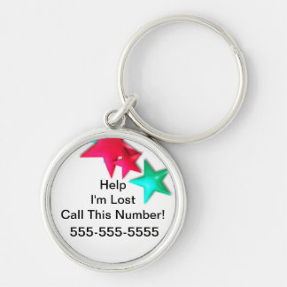 Ayuda - me pierden. Llame este número. Etiqueta Llavero Redondo Plateado