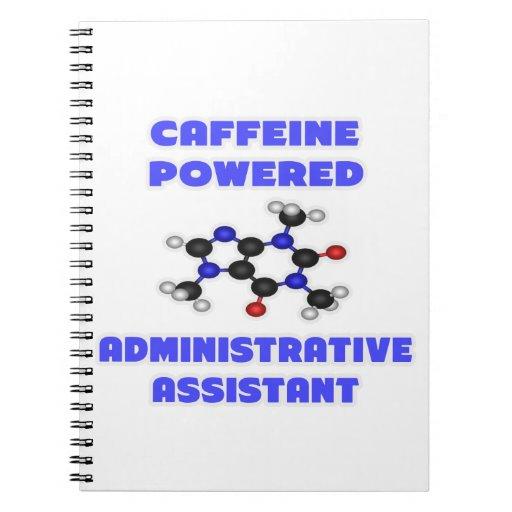 Ayudante administrativo accionado cafeína cuaderno