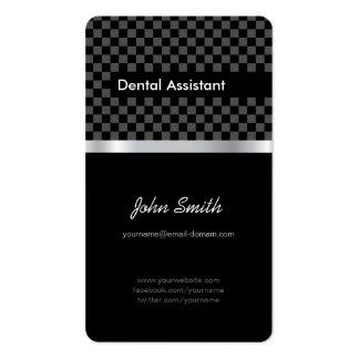 Ayudante de dentista - a cuadros negro elegante tarjeta de visita