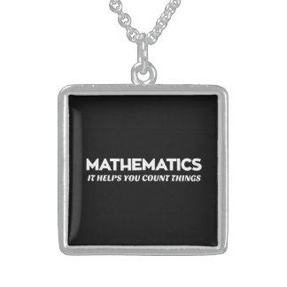Ayudas de la matemáticas que usted cuenta collar de plata de ley