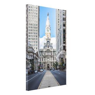 Ayuntamiento Philadelphia en la calle amplia Lienzo