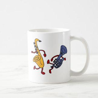 AZ- dibujo animado del baile del saxofón y de la Taza Básica Blanca