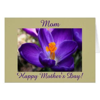 Azafrán feliz de la púrpura del día de madre tarjeta de felicitación