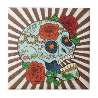Azúcar enrrollado Skulls Dia de los Muertos Azulejo Cuadrado Pequeño