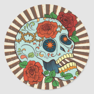 Azúcar enrrollado Skulls Dia de los Muertos Pegatina Redonda