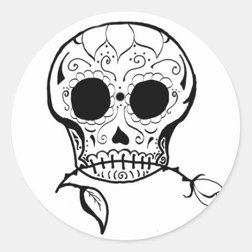 Azúcar Skull Día de los Muertos Etiquetas Redondas