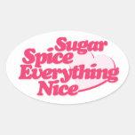 Azúcar y especia pegatina ovalada