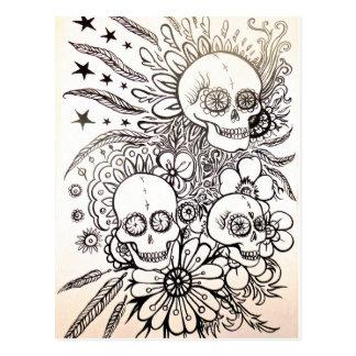 azucare el día del cráneo de arte muerto de la postal
