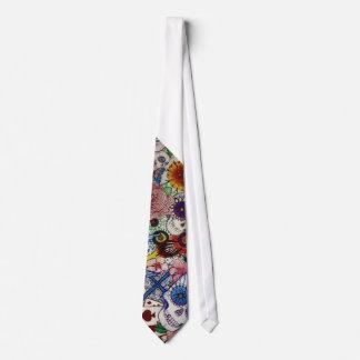 azucare el día del cráneo de lazo para hombre del corbata personalizada