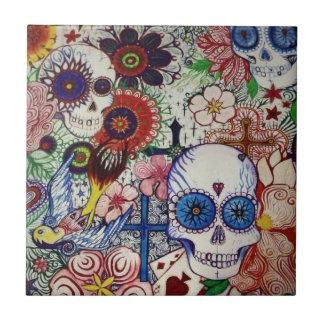 azucare el día del cráneo del arte mexicano muerto azulejo de cerámica