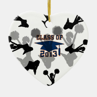 azul 2013 adorno navideño de cerámica en forma de corazón