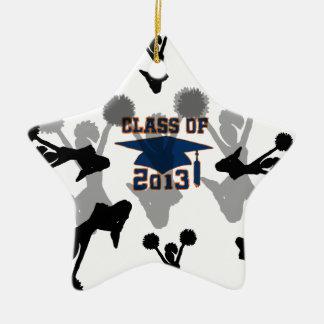 azul 2013 adorno navideño de cerámica en forma de estrella