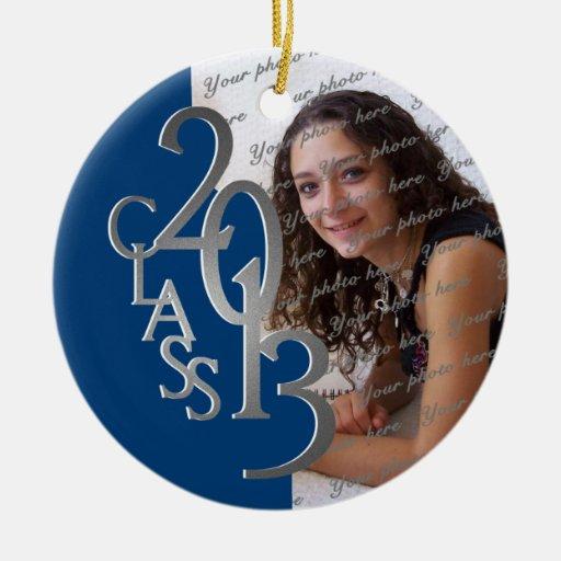 Azul 2013 y plata de la foto de la graduación de l ornamento de reyes magos