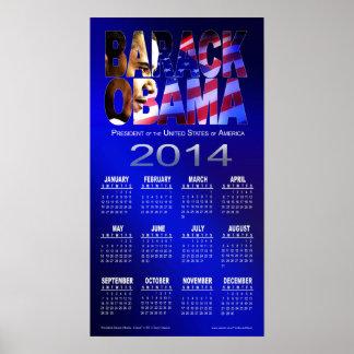 Azul 2014 del calendario el del recorte de Barac Poster