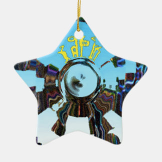 Azul abstracto adorno de cerámica